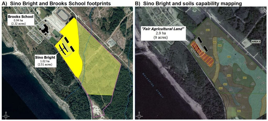 Sino Bright and Brooks Secondary School relative footprint in Powell River