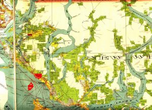 Wow. A map of Powell Lake from 1923 showing forest tenure...in color!