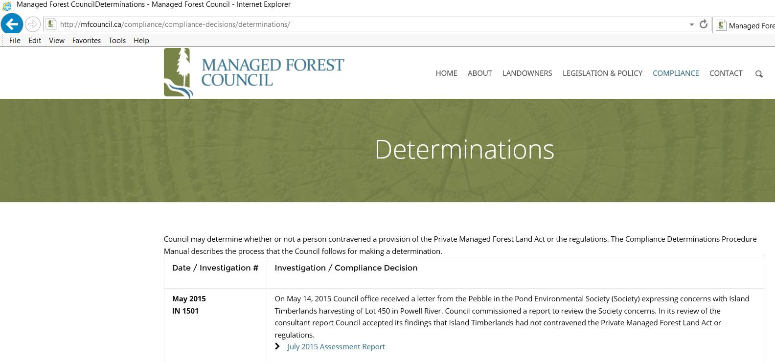 Determination from the Managed Forest Council (MFC), dated July 2015