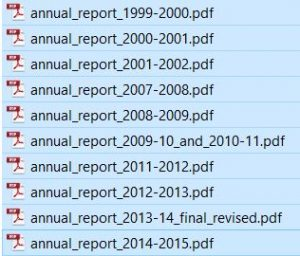 These annual reports are freely available on-line. Only a few of them contain data at the Regional District level.