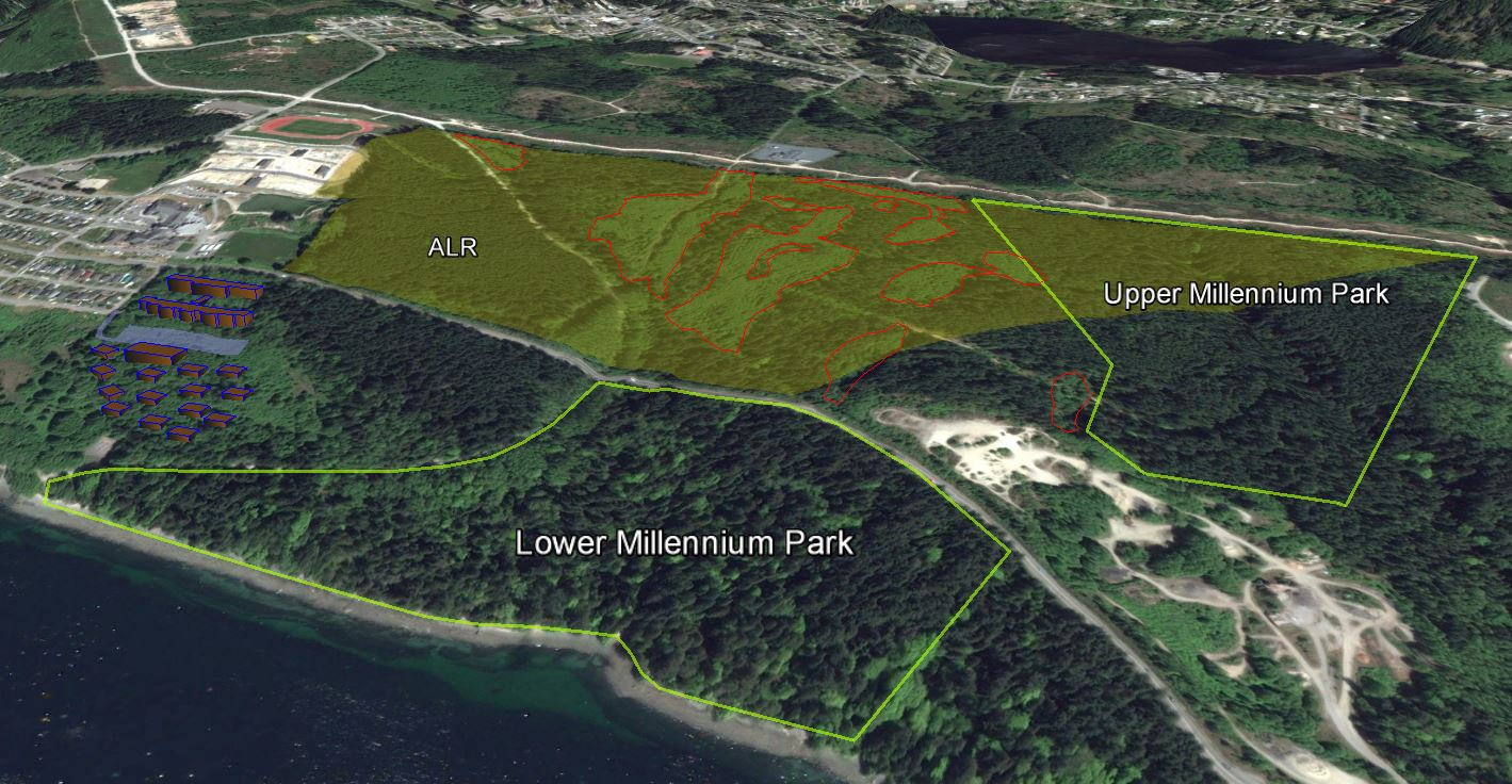 Upper and lower Millennium Park, the ALR and proposed ALR exclusion, and an alternative site location for Sino Bright School in Powell River, BC